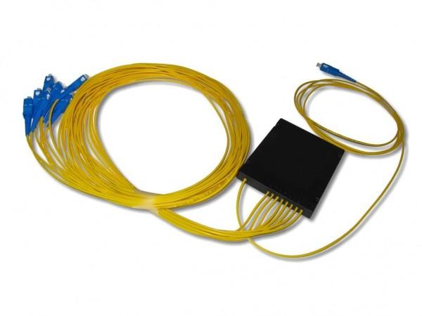 PLC Splitter 1x8 9/125µm G657A1 beidseitig 2.0mm Kabel 2m mit SC/PC Steckern