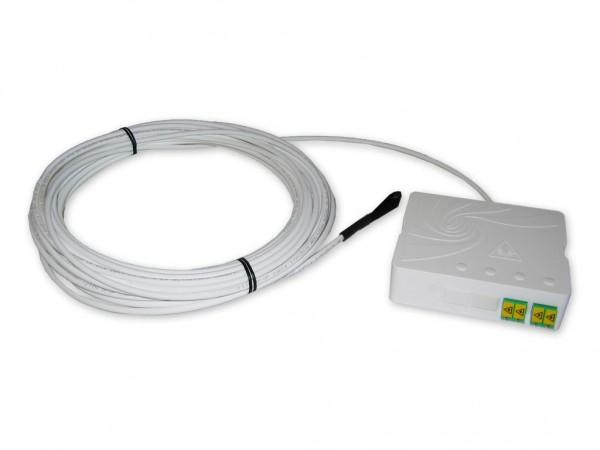 FTTH Dose 2x LC APC duplex bestückt mit FTTH Dropkabel Ring