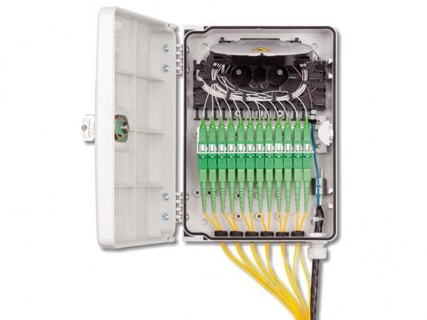 LWL FTTH Wandverteiler IP54 für 12 Fasern und 12 Kupplungen