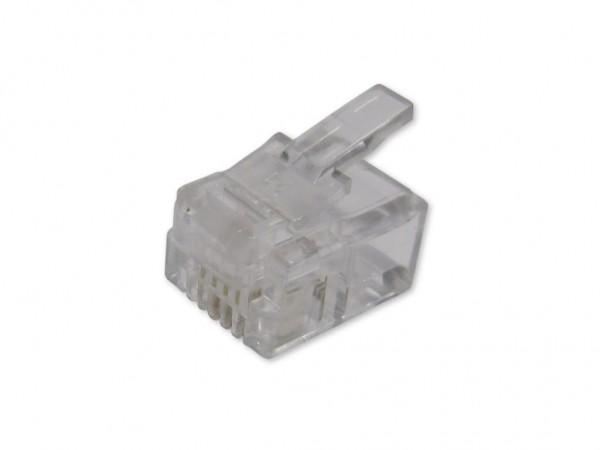 RJ11 Stecker für Flachkabel 6/4 - 100er Pack