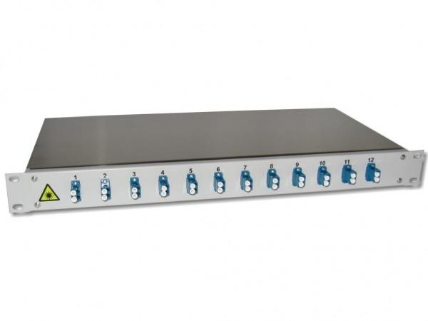 """19"""" LWL Spleißbox 1HE mit 12 LC duplex singlemode Kupplungen blau bestückt"""