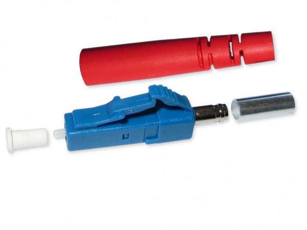 LC/PC simplex Stecker singlemode blau für 3mm Kabel mit rotem Knickschutz
