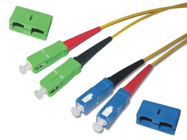 SC/APC 8° - SC/PC duplex Patchkabel 9/125µm G.657A1