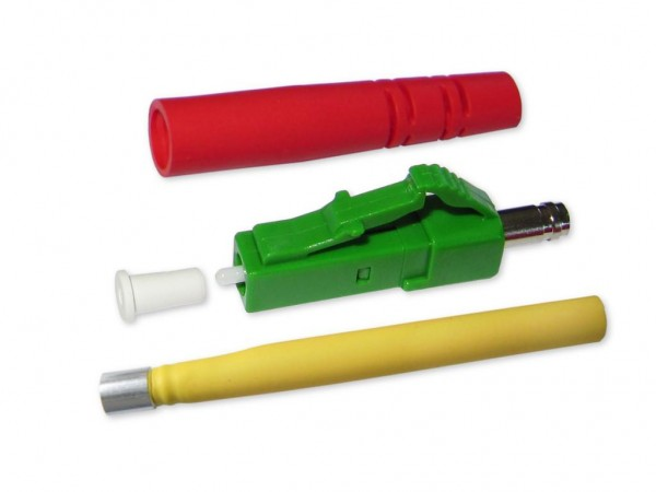 LC/APC simplex Stecker singlemode grün für 2mm Kabel mit rotem Knickschutz