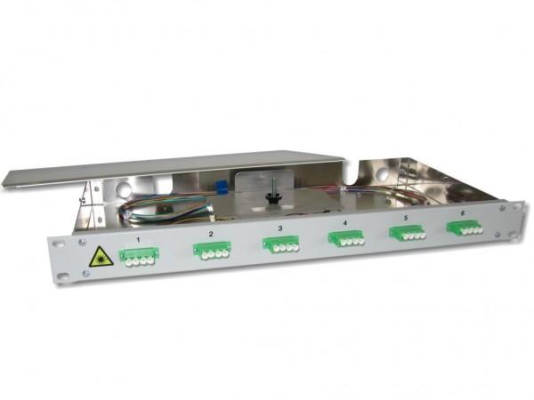 "19"" LWL Spleißbox 1HE 6x LC/APC quad 9/125µm OS2 komplett spleißfertig mit Kupplungen und Pigtails bestückt"