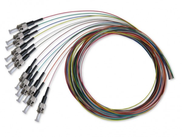 ST Pigtail multimode 62,5/125µm, 2m, 12 farbig