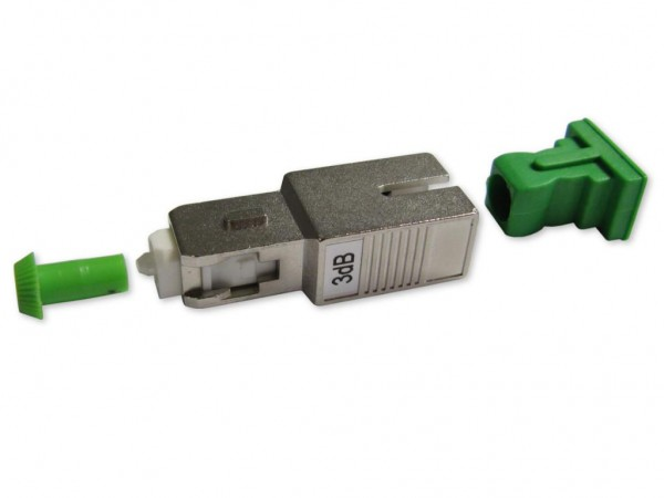 SC/APC singlemode Glasfaser LWL Dämpfungsglied (Attenuator) 3dB