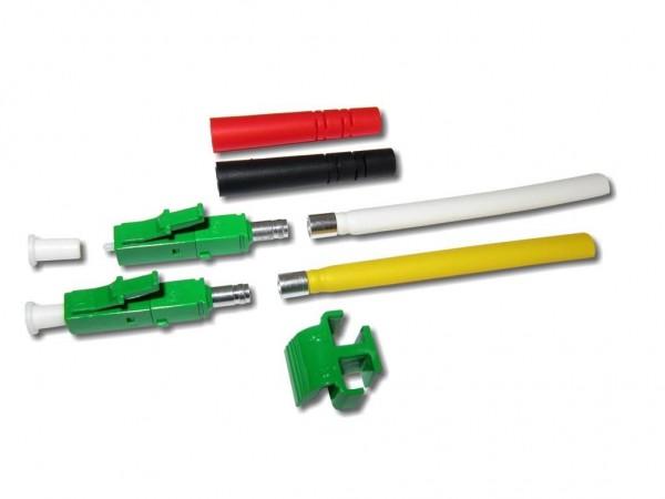 LC/APC duplex Stecker singlemode grün für 2mm Kabel mit rot/schwarzem Knickschutz