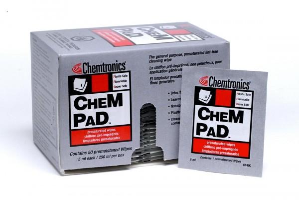 CP400 Chempad IPA getränkte Reinigungstücher für LWL Fasern und Messtechnik (50er Pack)