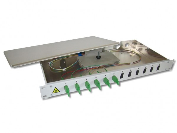 "19"" LWL Spleißbox 1HE 6 LSH/APC 9/125µm OS2 komplett spleißfertig mit Kupplungen und Pigtails bestückt"