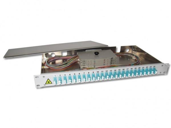 """19"""" LWL Spleißbox 1HE 24xLC-duplex 50/125µm OM3 komplett spleißfertig mit Kupplungen und Pigtails bestückt"""