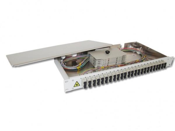 """19"""" LWL Spleißbox 1HE 24xSC-duplex 50/125µm OM2 komplett spleißfertig mit Kupplungen und Pigtails bestückt"""