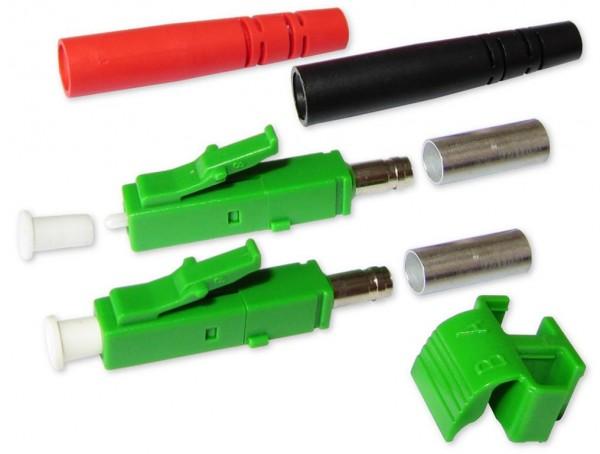 LC/APC duplex Stecker singlemode grün für 3mm Kabel mit rot/schwarzem Knickschutz