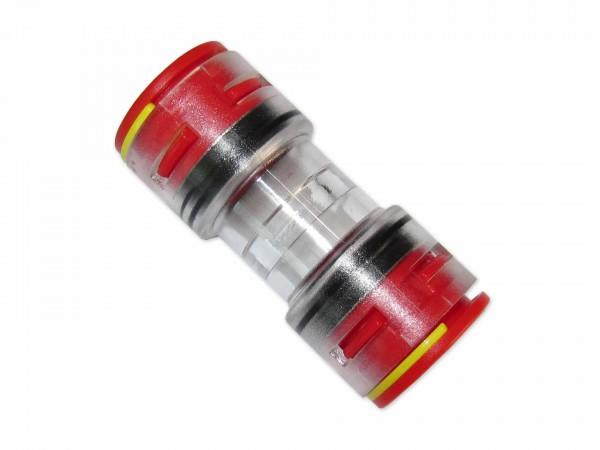 16mm Mikrorohrverbinder Doppelsteckmuffe innen 12mm mit Clips