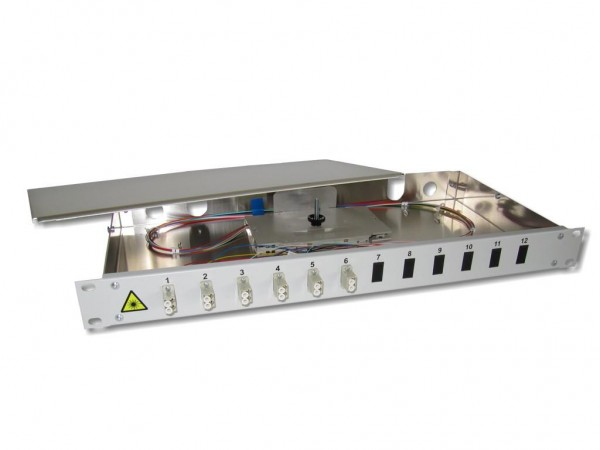 """19"""" LWL Spleißbox 1HE 6xLC-duplex 50/125µm OM2 komplett spleißfertig mit Kupplungen und Pigtails bestückt"""