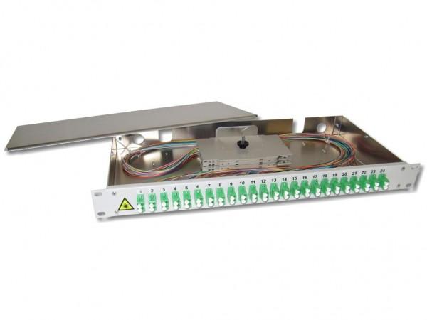 """19"""" LWL Spleißbox 1HE 24x LC/APC duplex 9/125µm OS2 komplett spleißfertig mit Kupplungen und Pigtails bestückt"""