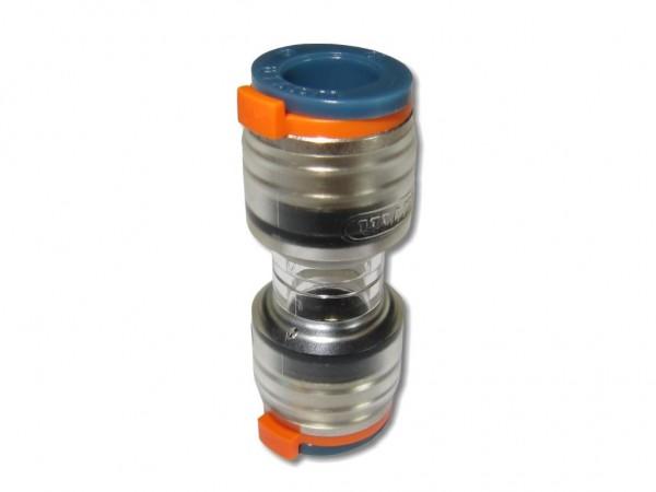 12mm Novofit DI Doppelsteckmuffe Mikrorohrverbinder mit Clips