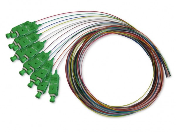 SC APC Pigtail singlemode 9/125µm G,657A1, 2m, 12 farbig