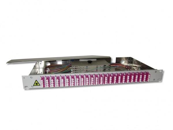 """19"""" LWL Spleißbox 1HE 24 LC quad 50/125µm OM4 komplett spleißfertig mit Kupplungen und Pigtails bestückt"""