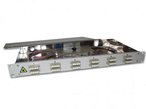 """19"""" LWL Spleißbox 1HE 12x LC quad 50/125µm OM2 komplett spleißfertig mit Kupplungen und Pigtails bestückt"""