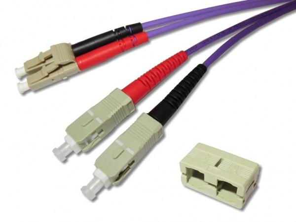LC-SC duplex Patchkabel 50/125µm OM4, 1m, violett