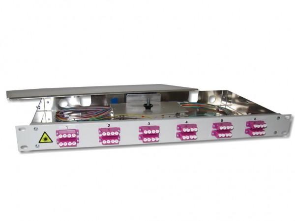 """19"""" LWL Spleißbox 1HE 12 LC quad 50/125µm OM4 komplett spleißfertig mit Kupplungen und Pigtails bestückt"""